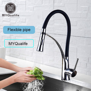 Brushed Nickel Kitchen Sink Faucet Pull Down Swivel Spout Kitchen Sink Tap Deck Mounted Bathroom Hot and Cold Water Mixers