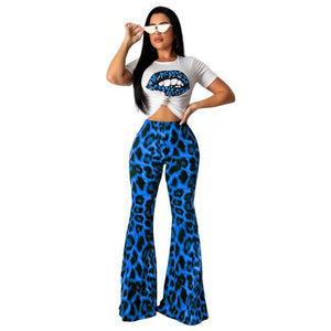 Adogirl Leopard Print Two Piece Set Women Casual Short Sleeve T-Shirt Crop Top + High Waist Flare Pants Suit Female Outfit Suits