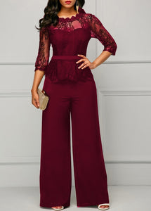 Sexy Patchwork Lace Jumpsuit Women Casual See Through O Neck Wide Leg Pants Jumpsuits Elegant Office Lady Overalls For Women