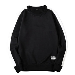 Men's New Style Casual Fashion Patchwork O-Neck Long SleevesTop Blouse hoodie black white solid men Loose casual Restore