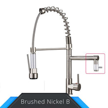 Load image into Gallery viewer, Black and Rose Golden Spring Pull Down Kitchen Sink Faucet  Hot & Cold Water Mixer Crane Tap with Dual Spout Deck Mounted