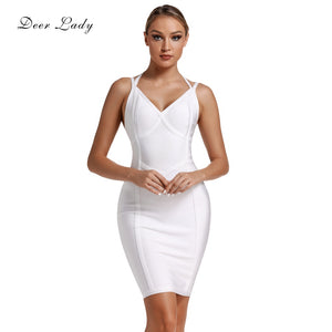 Deer Lady Celebrity Bandage Dresses 2019 New Arrivals Women Halter Sexy White Bandage Dress Bodycon Evening Party Dress Club Red