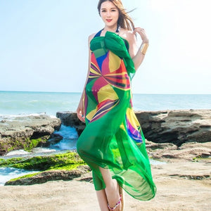 Beach Dress 140x190cm Pareo Scarf Women Beach summer dress Sarongs Summer Chiffon Scarves Geometrical Design Swimwear Women
