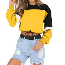 Load image into Gallery viewer, Womens Long Sleeve Splcing Color Sweatshirt Pullover Tops Blouse O Neck Blusas Mujer De Moda Cotton blouse