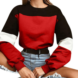 Womens Long Sleeve Splcing Color Sweatshirt Pullover Tops Blouse O Neck Blusas Mujer De Moda Cotton blouse