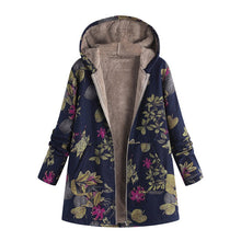 Load image into Gallery viewer, Windbreaker coats Womens Winter Warm Outwear Floral Print Hooded Pockets Vintage Oversize Coats Spring Women's Jackets