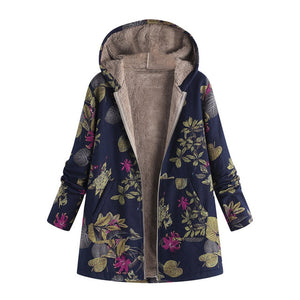 Windbreaker coats Womens Winter Warm Outwear Floral Print Hooded Pockets Vintage Oversize Coats Spring Women's Jackets