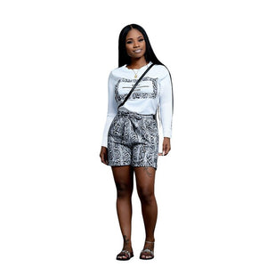 Echoine 2 Piece Set Snake Skin Letter Print Summer Shorts Set Women Tracksuit Short Sleeve T-shirt and Shorts Pocket Casual Suit