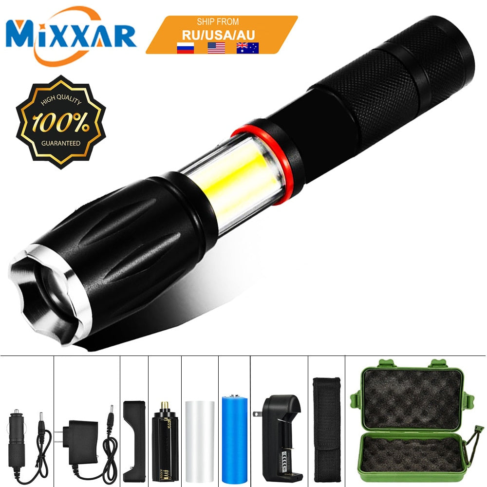 EZK20 Dropshipping LED 8000 Lumens Handheld Tactical Flashlight 18650 COB Lantern Magnetic 6 Modes Water Resistant for Emergency