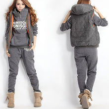 Load image into Gallery viewer, Running Sets Women Warm Hoodies Tracksuit 3pcs Set Thicken Sweat Tops Pants Suit Female Plus Thick Clothing костюм женский