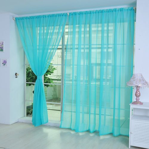 1 PCS Pure Color Tulle Door Window Curtain Drape Panel Sheer Scarf Valances Solid color glass curtain window light transmission
