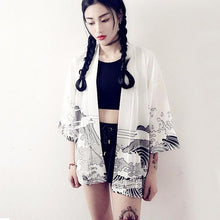 Load image into Gallery viewer, Vintage Japanese Harajuku Style Blouse Waves and Wind Dragon Shirts Japanese kimono Print Chiffon Cardigan