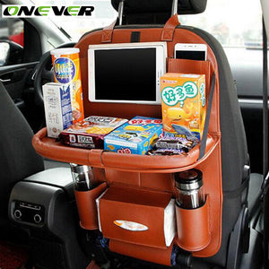 Onever Car Seat Back Hanging Organizer Bag Universal Auto Multi-pocket PU Leather Pad Cups Storage Holder Bag Foldable Shelf