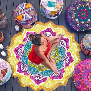 Pattern Seaside Vacation Camping Mat Mandala Tassel Large  Polyester Lotus Printed Round Beach Towel Elephant Dream Catcher New