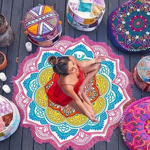 Load image into Gallery viewer, Pattern Seaside Vacation Camping Mat Mandala Tassel Large  Polyester Lotus Printed Round Beach Towel Elephant Dream Catcher New