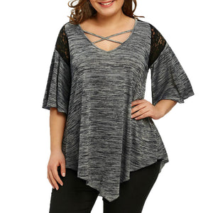 Big Size Flare Sleeve Tunic Asymmetrical Blouse Shirt Women Patchwork V-Neck Half Sleeve Lace Panel Womens Plus Size