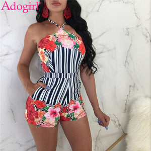 Adogirl Floral Print Striped Fashion Sexy Women Playsuits Halter Backless Summer Shorts Rompers Female Beach Wear Club Overalls