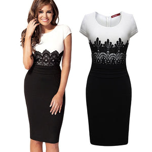 Sexy Vestidos Women Party Dresses OL Pencil Dress Summer Sleeveless Bodycon Midi Ladies Casual Slim Lace Large Size Dress