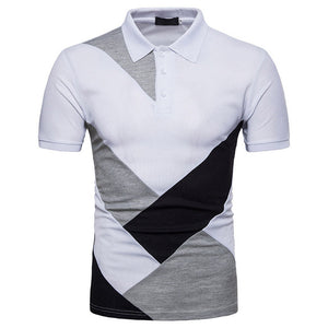 Brand New Men Casual Patchwork Short Sleeve T Shirt Man Turn Down Collar Button Slim Fit Tees 80425
