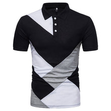 Load image into Gallery viewer, Brand New Men Casual Patchwork Short Sleeve T Shirt Man Turn Down Collar Button Slim Fit Tees 80425