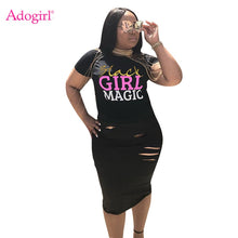 Load image into Gallery viewer, Adogirl Letters Print Women Dress O Neck Short Sleeve Hole Bodycon Midi Casual Summer Dresses Fashion Street Wear Club Wear