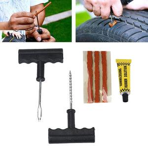 Car Tire Repair Tools Tubeless Tyre Puncture Repair Plug Kit Needle Patch Fix Tools Cement Useful Set