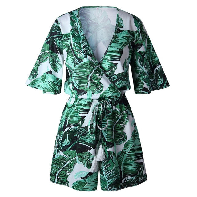 Free Ostrich Sexy Rompers Women Jumpsuit Playsuit Summer Leaves Printing Short Sleeve V Neck Short Overalls Female Clothes D1235