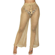 Load image into Gallery viewer, Adogirl Women Beach Flare Pants Solid Knitted Hollow Out Fishnet Wide Leg Pants High Waist Lace Up Sashes Night Club Trousers