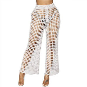 Adogirl Women Beach Flare Pants Solid Knitted Hollow Out Fishnet Wide Leg Pants High Waist Lace Up Sashes Night Club Trousers