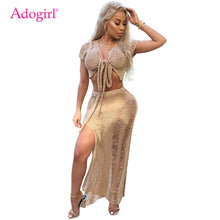 Load image into Gallery viewer, Adogirl Women Knit Two Piece Set Hollow Out Sexy V Neck Short Sleeve Front Tie Crop Top High Slit Maxi Skirt Holiday Club Outfit