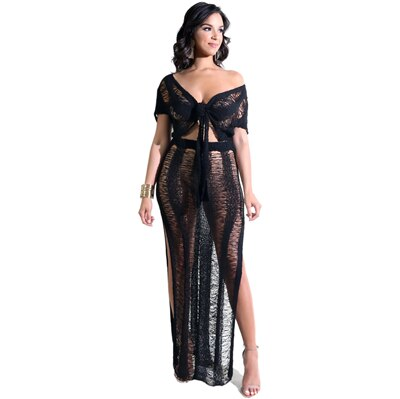 Adogirl Women Knit Two Piece Set Hollow Out Sexy V Neck Short Sleeve Front Tie Crop Top High Slit Maxi Skirt Holiday Club Outfit