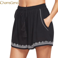 Load image into Gallery viewer, Free Shipping Women Summer Casual Print Shorts High Waist Short Black Shorts with Tassels 80712