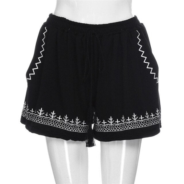 Free Shipping Women Summer Casual Print Shorts High Waist Short Black Shorts with Tassels 80712