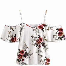 Load image into Gallery viewer, Feitong Summer blusa feminina Women Blouses Sexy Cold Shoulder Floral Print Short Blouse Crop Tops blusas mujer de moda 2019 New