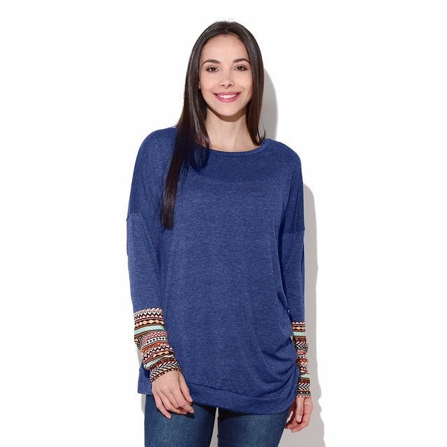 Free Ostrich T-Shirts Women T Shirt Fashion Casual O-Neck Long Sleeve tshirt Patchwork Asymmetrical Tops Tees C1435