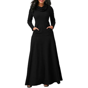 Women Warm Dress With Pocket Casual Solid Long Sleeve Vintage Maxi Dress Robe Bow Neck Long Elegant Dress Vestidos Female Body