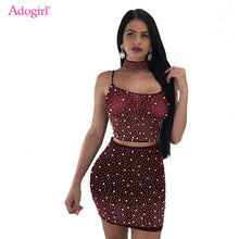 Load image into Gallery viewer, Adogirl Sheer Mesh Pearls 3 Piece Set Women Sexy Night Club Outfits Choker+Spaghetti Straps Lace Up Backless Crop Top+Mini Skirt