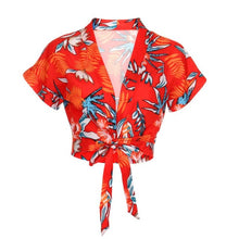 Load image into Gallery viewer, Deep V-Neck Blouse Women Floral Print Sexy Tops Women Summer Bandage Red Blouses Ladies Crop Top Female Kimono beach Shirt