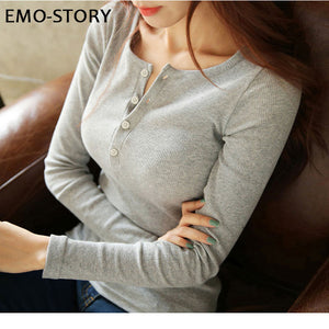 2018 Spring Autumn Henley Neck Women Pullovers Ladies Solid Long Sleeve Sweater Slim Jumper Slim Bodycon Tops Christmas Gift