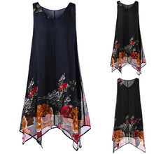 Load image into Gallery viewer, KANCOOLD dress Women Plus Size Floral Print Chiffon Dress fashion Sleeveless Irregular Hem Mini dress women 2018jul20
