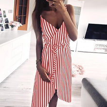 Load image into Gallery viewer, KANCOOLD dress Women Stripe Printing Sleeveless Off Shoulder Dress Evening Party Vest Empire Sashes dress women 2018AUG1