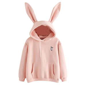 Free Shipping Hoodies Rabbit Ear sudadera kawaii Sweatshirt Women Winter Warm Pink Hoodies Sweatshirts With Front Pocket 80816