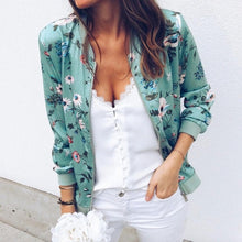 Load image into Gallery viewer, Outerwear & Coats Jackets Womens Ladies Retro Floral Zipper Up Bomber Outwear Casual coats and jackets women 2018AUG10