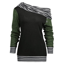 Load image into Gallery viewer, Feitong Plus Size Women Sweatshirts Solid Color Skew Neck Long Sleeve Striped Patchwork Button Sweatshirt Fall Women Top
