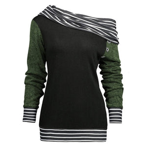 Feitong Plus Size Women Sweatshirts Solid Color Skew Neck Long Sleeve Striped Patchwork Button Sweatshirt Fall Women Top