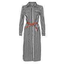 Load image into Gallery viewer, KANCOOLD Dress Women fashion Stripe Printed Long Sleeves Button Dress Bandage Belt Shirt Long Dress women 2018AUG8
