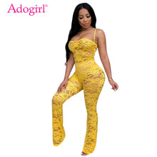 Load image into Gallery viewer, Adogirl Women Sexy Sheer Lace Crochet Jumpsuit Solid 4 Colors Spaghetti Straps Strapless Night Club Romper without Headband
