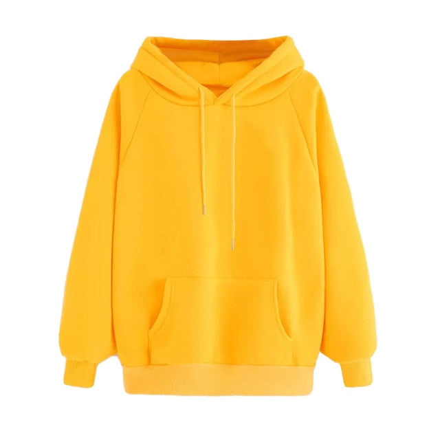 Women Yellow Hoodie Autumn Long Sleeve Sweatshirt Pocket Drawstring Hooded Solid Color Casual Pullover #JN