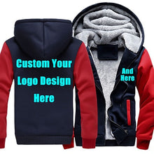 Load image into Gallery viewer, US Size Custom Mens Hoodies DIY Print Luminous LOGO Design Hoodie Warm Fleece Thicken Coat Jacket Sweatshirts Drop Shipper