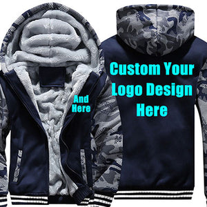 US Size Custom Mens Hoodies DIY Print Luminous LOGO Design Hoodie Warm Fleece Thicken Coat Jacket Sweatshirts Drop Shipper